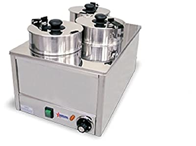 Fma Omcan Commercial Triple Four Qt. Electric Soup, Chili, Cheese Food Warmer Heater, TS9099 11390