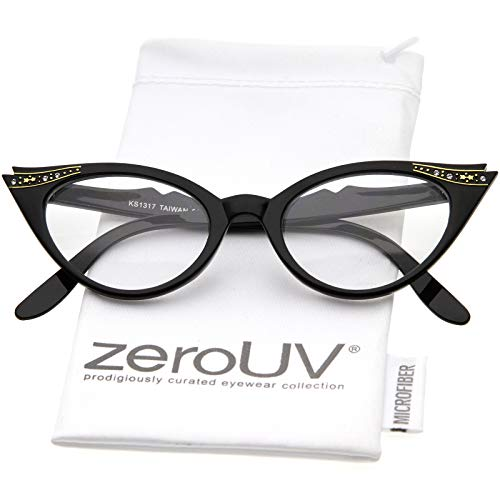 Vintage Cateyes 80s Inspired Fashion Clear Lens Cat Eye Glasses with Rhinestones (Black)]()