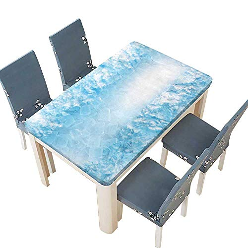 PINAFORE Table in Washable Polyeste Abstract ice Cube and Snow in Blue Light Background Table Cover W61 x L100 INCH (Elastic Edge) -