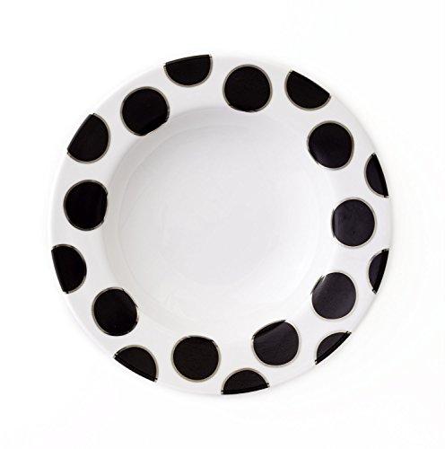 Platinum Rim Soup Plate - CRU by Darbie Angell Pearl Rim Soup Bowl, Black/Platinum/White