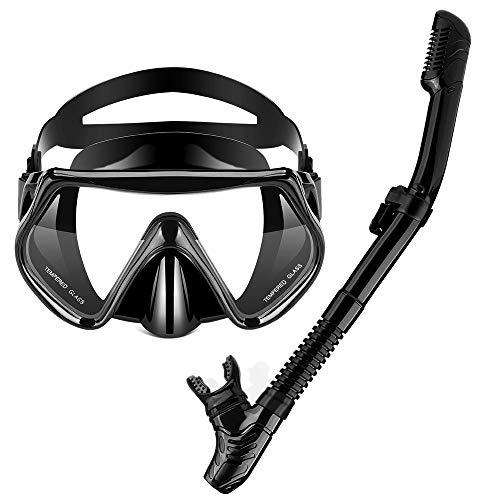 OMYAFL Snorkel Set, Anti-Leak Snorkel Mask,Anti-Fog Panoramic Scuba Mask,Dry Top Snorkel + Carry Bag for Adult Snorkeling or Diving ()