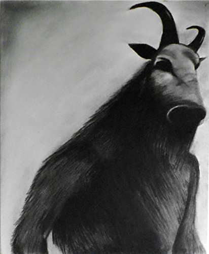 1 - 11x14 Faun - Halloween Art Decor - Demonic Dark Art - Satanic Gothic Monster Drawing - Macabre Beast Charcoal Art - Wiccan and Goth Fine Art by enchantedchroma