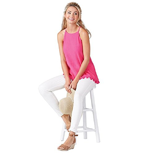 Mud Pie Georgia Tassel Cotton Tank In Womens Clothing Shirt Fuschia (Small) (Domed Tassel)