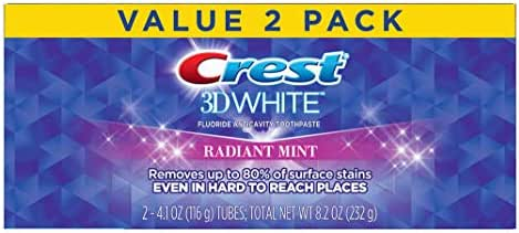 Crest Toothpaste 4.1 Ounce 3D White (Value Pack 2) Radiant Mint (Pack of 2)