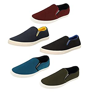 Chevit Men's Multicolour Casual Loafer and Moccasins-Combo Pack of5