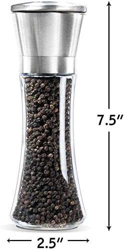 Premium Stainless Steel Salt and Pepper Mill with Adjustable Coarseness Golden Salt and Pepper Grinder Salt Grinder and Pepper Shaker Mill for Home Chef Top Salt and Pepper Shakers Set of 2
