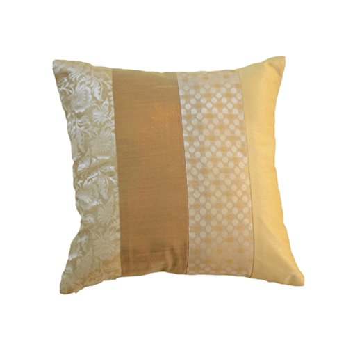 meSleep Pillow Case Brocade Dupion Silk Sofa Throw Decorative Weaving Beige Cushion Cover Square Home Décor (Dupion Silk Cushion)