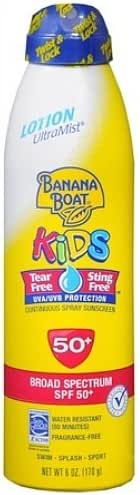Banana Boat Kids UltraMist Lotion Continuous Spray Sunscreen, SPF 50 6 fl oz (177 ml)