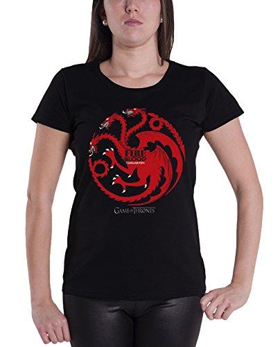 Game Of Thrones Targaryen Crest Official Womens New Black Skinny Fit T Shirt