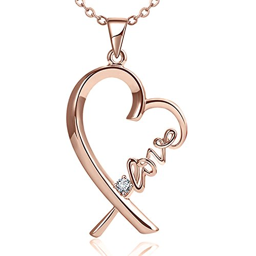 Blinkingstare Rose Gold Heart Pendant Necklace-Mom and Lover Heart Crystal Dainty Love Necklace Chain