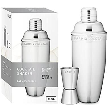 Barmix Cocktail Shaker 24 Ounces, Stainless Steel, Jigger Included