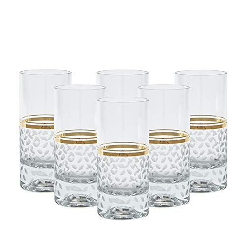 (Glazze Crystal Set of 6 Handcrafted Highball Glasses with Hand Painted Real Gold Trim Detailing - Hand Cut Raindrops Pattern - Luxurious Gift for Men and Women - For Soft drinks & More )