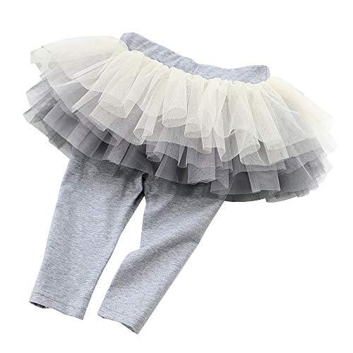 Slowera Little Girls Footless Capri Leggings with Tutu Skirt (Capri Grey, 100: 3 Years) ()