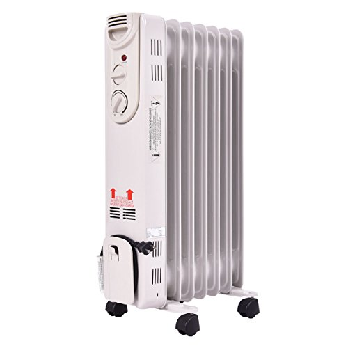 NEW White 1500W Electric Oil Filled Radiator Space Heater 5-Fin Thermostat Room Radiant