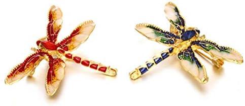 HFKDJ Broche Crystal Dragonfly Broches Esmalte Rojo Azul Insectos ...