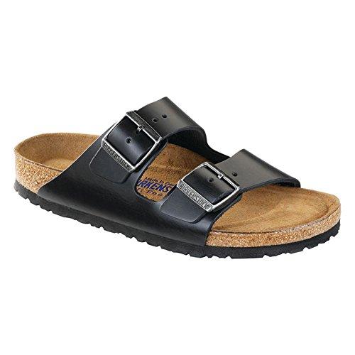 Birkenstock Unisex Arizona Black Amalfi Leather Soft Footbed Sandals - 38 N EU / 7-7.5 2A(N) -