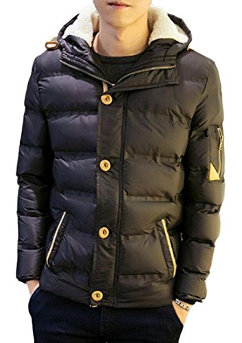 M&S&W Men's Winter Long Sleeve Thick Hoodies Puffer Down Jackets Black