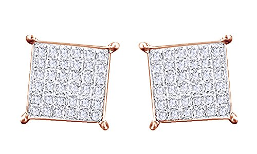 14K Rose Gold Over Sterling Silver Round Cut White Real Diamond Hip Hop Stud Earrings (0.36 Cttw) by wishrocks