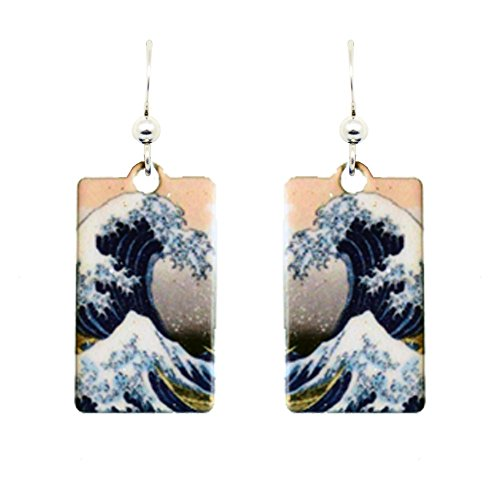 The Great Wave by d'ears Non-Tarnish Sterling Silver French Hook Ear Wire Earrings Hokusai Wave