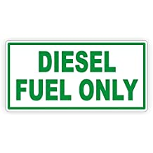 "1-PC Superior Popular Diesel Fuel Only Car Sticker Signs Window Decals Automotive Decor Safety Vinyl Size 2-1/2"" x 5"" Color White with Green"