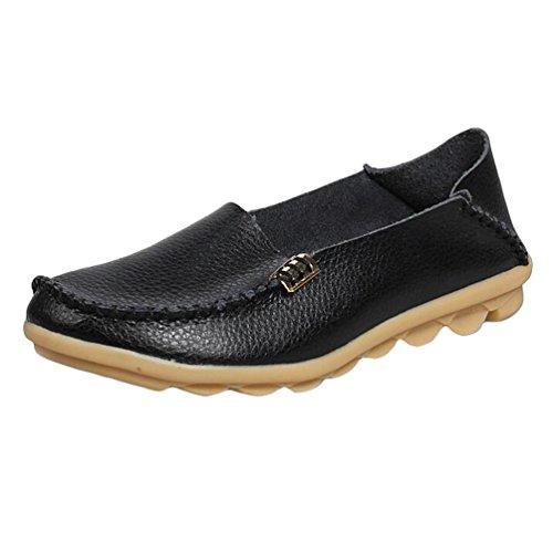 Heheja Mujer Mocasines Ocio Piso Zapatos Comodidad Zapatos de Conducción Negro