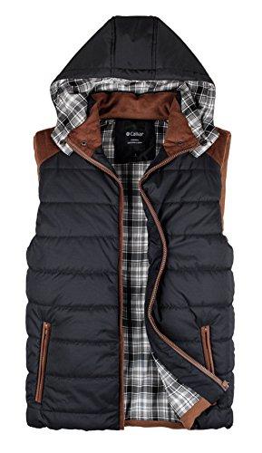 Calliar Men's Fashion Design Hooded Down Vest,Black,XXL(US L)