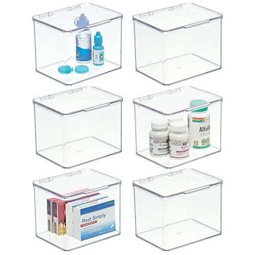 mDesign Stackable Plastic Storage Bin Box with Hinged Lid Organizer for Vitamins, Supplements, Serums, Essential Oils, Medicine Pill Bottles, Adhesive Bandages, First Aid Supplies - 6 Pack - Clear