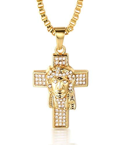 Halukakah PRAYER Men's 18k Real Gold Plated Jesus Cross Pendant Artificial Diamond Set Necklace with FREE Box Chain 30
