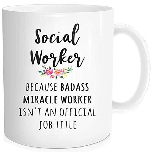 Waldeal 1 Piece, Social Worker Gift Cup, Funny Coffee Mug, 11 oz Fine Bone Ceramic White