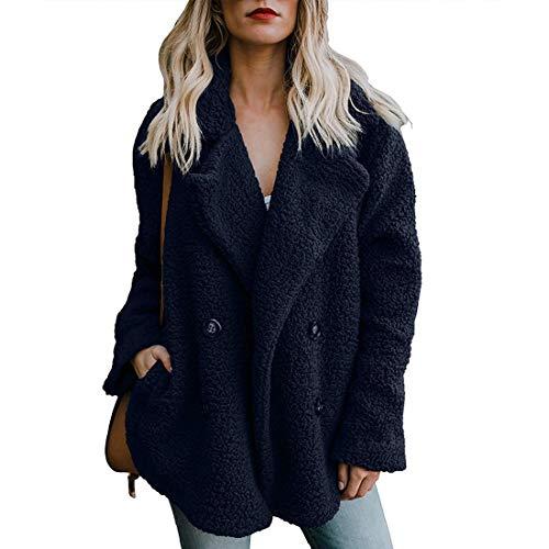 ZHENWEI Women Blue Lapel Shearling Jacket Faux Fur Fuzzy Cardigan Sweaters Cute Outfits for Winter Fur Outerwear Coats