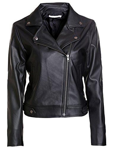 Vero Viva Women's Faux Leather Moto Biker Short Jacket Coat Black M