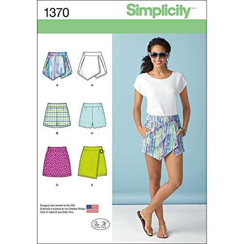 (Simplicity 1370 Women's Vintage Shorts, Skorts, and Skirt Sewing Patterns, Sizes 14-22)