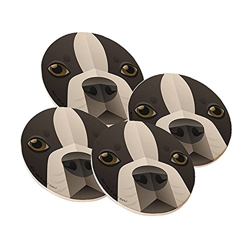 Boston Terrier Coasters - Sandstone Drink Coaster from Space Case by New Vibe (set of 4) - Boston Terrier