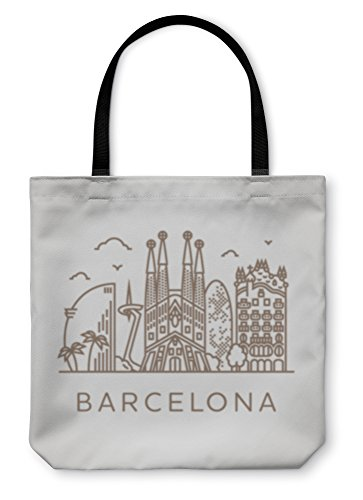 Gear New Shoulder Tote Hand Bag, Barcelona With Famous Buildings And Places, 13x13, 5598985GN by Gear New