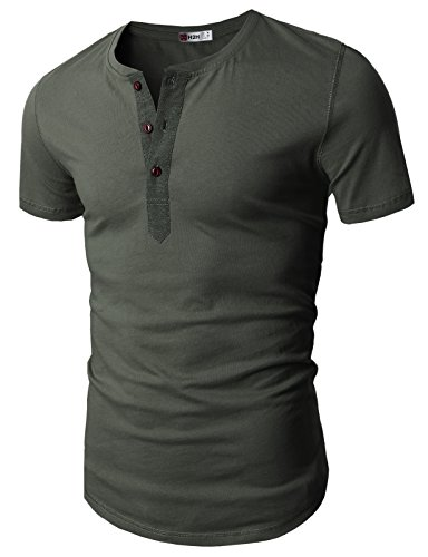H2H Casual Sleeve Henley T shirts