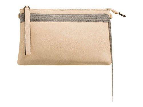NEW WOMEN'S CHAIN DETAIL WRISTLET ZIP POCKET HANDBAG PURSE CLUTCH BAG
