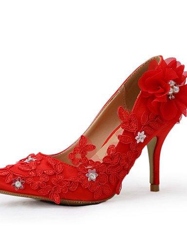 ZQ Zapatos de boda-Tacones-Tacones-Boda / Vestido / Fiesta y Noche-Rojo-Mujer , 3in-3 3/4in-us8 / eu39 / uk6 / cn39 , 3in-3 3/4in-us8 / eu39 / uk6 / cn39 3in-3 3/4in-us5.5 / eu36 / uk3.5 / cn35