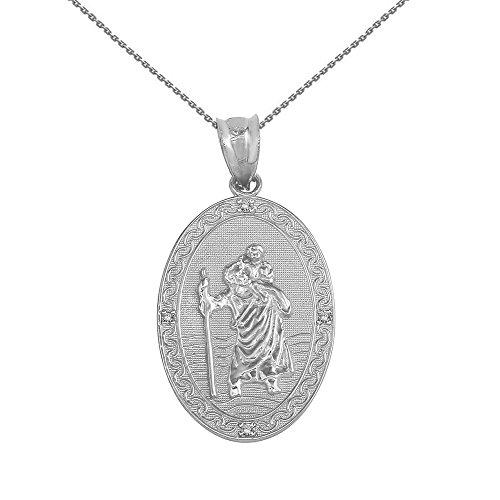 925 Sterling Silver Saint Christopher Cz Oval Medal Charm Necklace  1    22