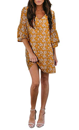BELONGSCI Women's Dress Sweet & Cute V-Neck Bell Sleeve Shift Dress Mini Dress (Small Yellow Floral, XS)