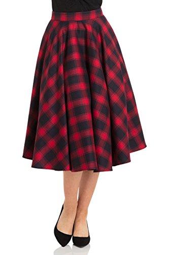 Voodoo Vixen May Checked Plaid Retro 50s Full Circle Swing Dance Skirt - Red (XL) -