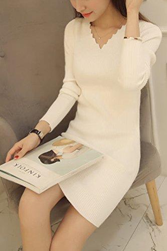 La Mujer Elegante Pullover Knit Cardigan Sweater Mini Vestido Bodycon White