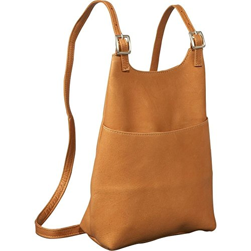 (Le Donne Womens Slim Sling Leather Backpack/Purse in Tan)