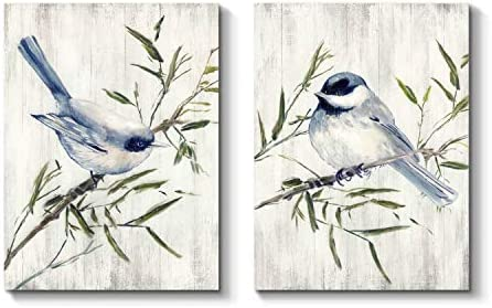 Bird Canvas Wall Art Picture Nature-Inspired Painting Artwork on Canvas for Bathroom 24 x 18 x 2 Panels