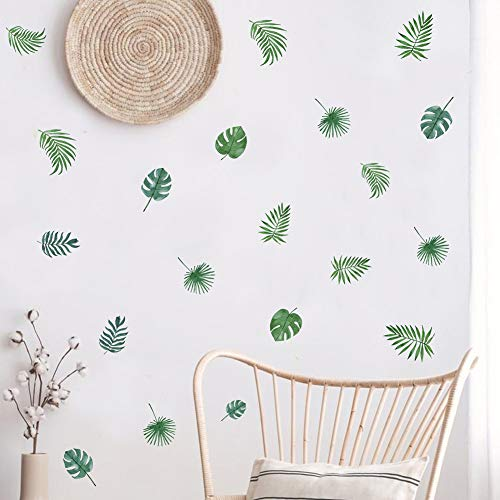 TOARTi Nordic Green Leaves Wall Decal, Tropical Plant Fresh Leaves Sticker for Bedroom Office Decoration (39pcs Green Plant Leaf) ()