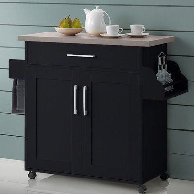 Stylish and Elegant Burhall Kitchen Island Cart with One shelf, Wheels for easy Mobility and Cabinet Storage Space