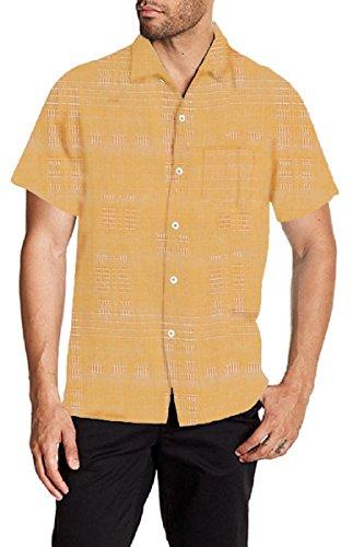 Tommy Bahama Men's Pigment Geo-Rific Jacquard Silk Camp Shirt (Medium, Radiant Yellow)