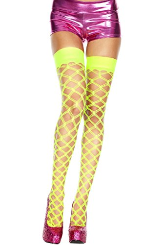Multiple Fence Net Spandex Thigh high with Lace Top (White, OS)