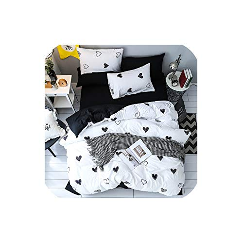 LOVE-JING Textiles Girls Kid Teen Fashion Bedding Set Adult Soft Washed Cotton Black White Heart Shaped Duvet Cover Pillowcase Bed Sheet,Sx04,King,Flat Bed - 4 Coco Crib Bedding Piece