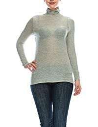 BILY Women's Comfortable Basic Extra Lightweight Turtleneck Pullover Jersey Top Made In USA
