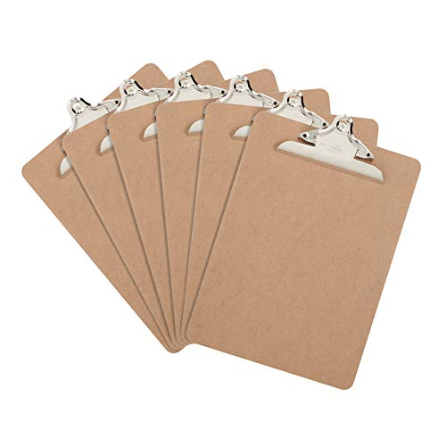 - 6 Hardboard Clipboards, Heavy Duty Clip, Design for Classroom and Office use, 6 Clipboards